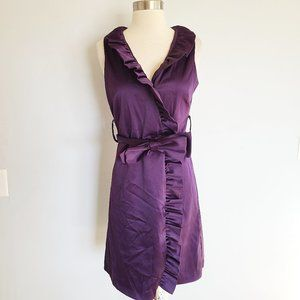 Eliza J satin ruffle belted wrap dress